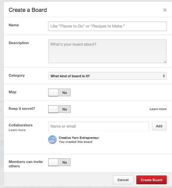 Use keywords when creating new boards (or updating old boards) to improve search results.