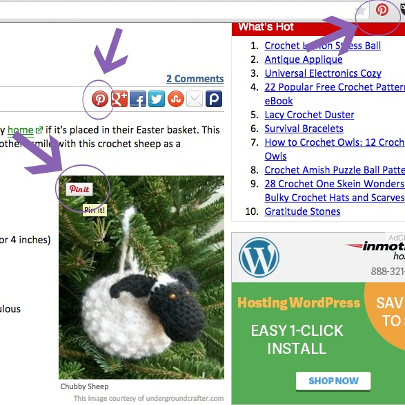 """Most websites offer two ways to Pin content. Hover over the image until a """"Pin It"""" button appears or use a social sharing button. You can also add a Pin It button to most browsers."""