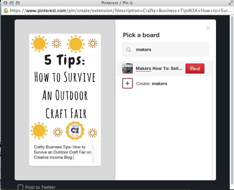 When adding a Pin, don't forget to write a description that includes keywords. You can add each Pin to one or more of your Boards.